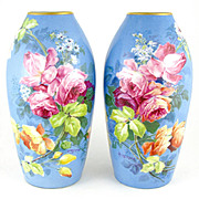 Pair of French Limoges Hand Painted Porcelain Vases, Blooming Pink Roses, Artist Signed