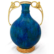 Paul Milet Sevres Porcelain Large Moon Flask Vase, Art Nouveau Gilt Bronze Mounts