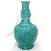 Paul Milet Sevres French Porcelain Vase, Turquoise Chinese Celadon Dragons
