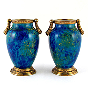 Paul Milet for Sevres Pair French Porcelain Vases, Gilt Bronze Mounts