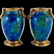 Paul Milet for Sevres Pair French Porcelain Vases, Gilt Bronze Mounts