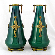 Pair of Paul Milet for Sevres Vases, French Porcelain & Signed DELAUNAY Bronze Mounts