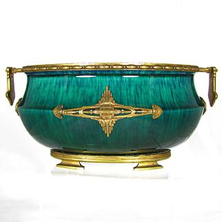 Paul Milet for Sevres French Porcelain Jardiniere, Flambe Glaze, Signed DELAUNAY Bronze Mounts