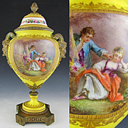 Antique French Sevres Style Porcelain Urn, Bronze Satyr Handles, Hand Painted Rococo Scene, Artist Signed, Gilt Decoration
