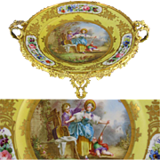 Antique French Sevres Style Porcelain Gilt Bronze Mounts Centerpiece Bowl, Footed Tazza, Hand Painted Rococo Scene, Gilt Decoration & Colorful Flowers