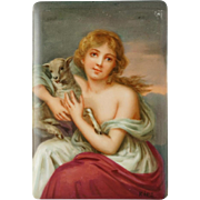 "Antique Hutschenreuther German Porcelain Plaque CMHR Mark Hand Painted Portrait Girl with a Lamb 6""x4"""