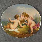 Antique KPM Porcelain Plaque Berlin German Hand Painted Portrait Miniature Cherubs, Putti, & Bird Scene
