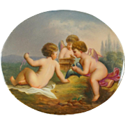 Antique KPM Porcelain Plaque Berlin German Hand Painted Portrait Miniature Cherubs, Putti, & Bird Scene