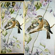Large Antique French Limoges Porcelain Plaque, Portrait Painting of Birds, Signed & Dated 1911, Tresseman & Vogt T&V Mark