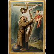 Antique Hand Painted Porcelain Plaque, Portrait, Religious Genre, Saint Francis Embracing Christ