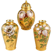 3pc French Limoges Porcelain Garniture Set, Signed, Hand Painted Flowers Gold Gilt Potpourri Urn & Pair of Vases