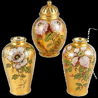 3pc French Limoges Porcelain Garniture Set, Signed, Hand Painted Flowers Gold Gilt Potpourri Urn & Pair of Vases