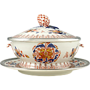 PUIFORCAT Sterling Silver French Porcelain Serving Tureen, Hand Painted Imari Style