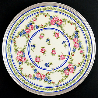 Tetard Freres French Sterling Silver Limoges Porcelain Hand Painted Plate, Blue Cornflowers & Pink Roses, 2