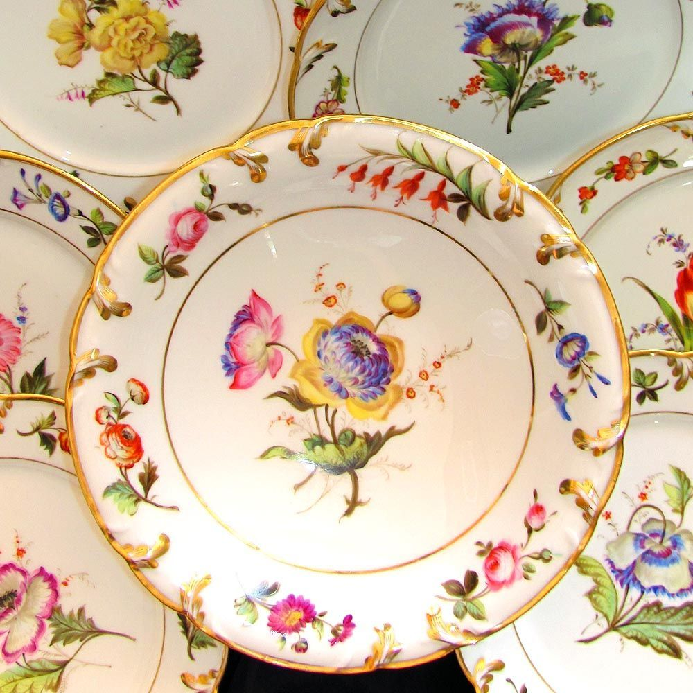 Antique French Pillivuyt Gilt Porcelain Hand Painted Flowers Dessert Set