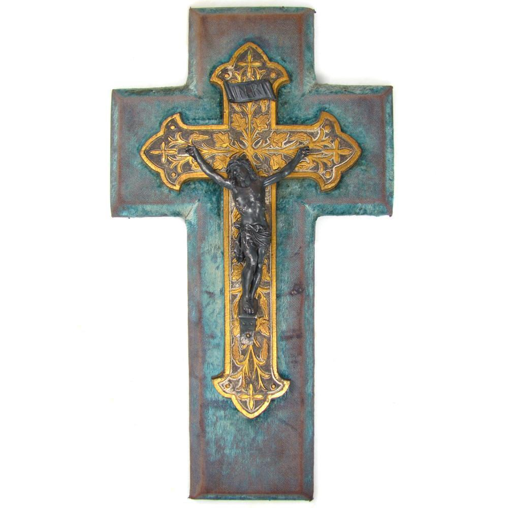 Antique Napoleon III era French Casted Metal Crucifix, Cross, Wall Hanging