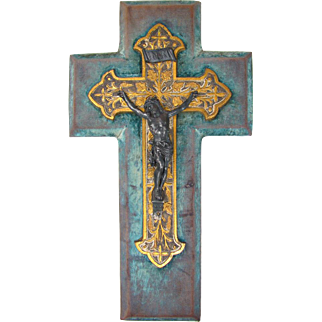 Ornate Large Antique French Napoleon III Crucifix, Cross, Wall Hanging