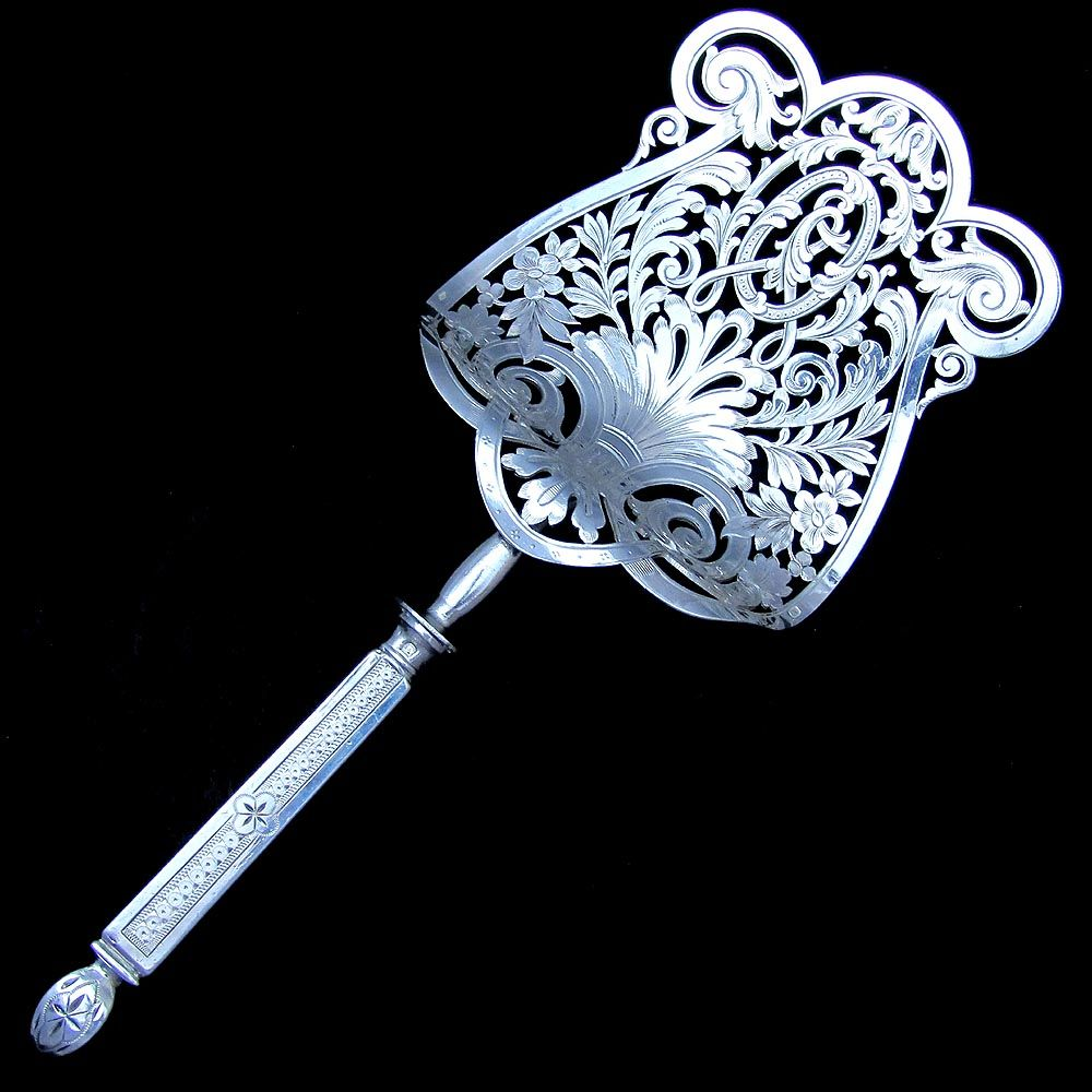 Ornate Antique French Sterling Silver 950 Minerve Handled Asparagus Server