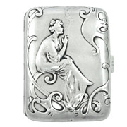 French Art Nouveau .800 Silver Hallmarked Cigarette Case, Smoking Lady