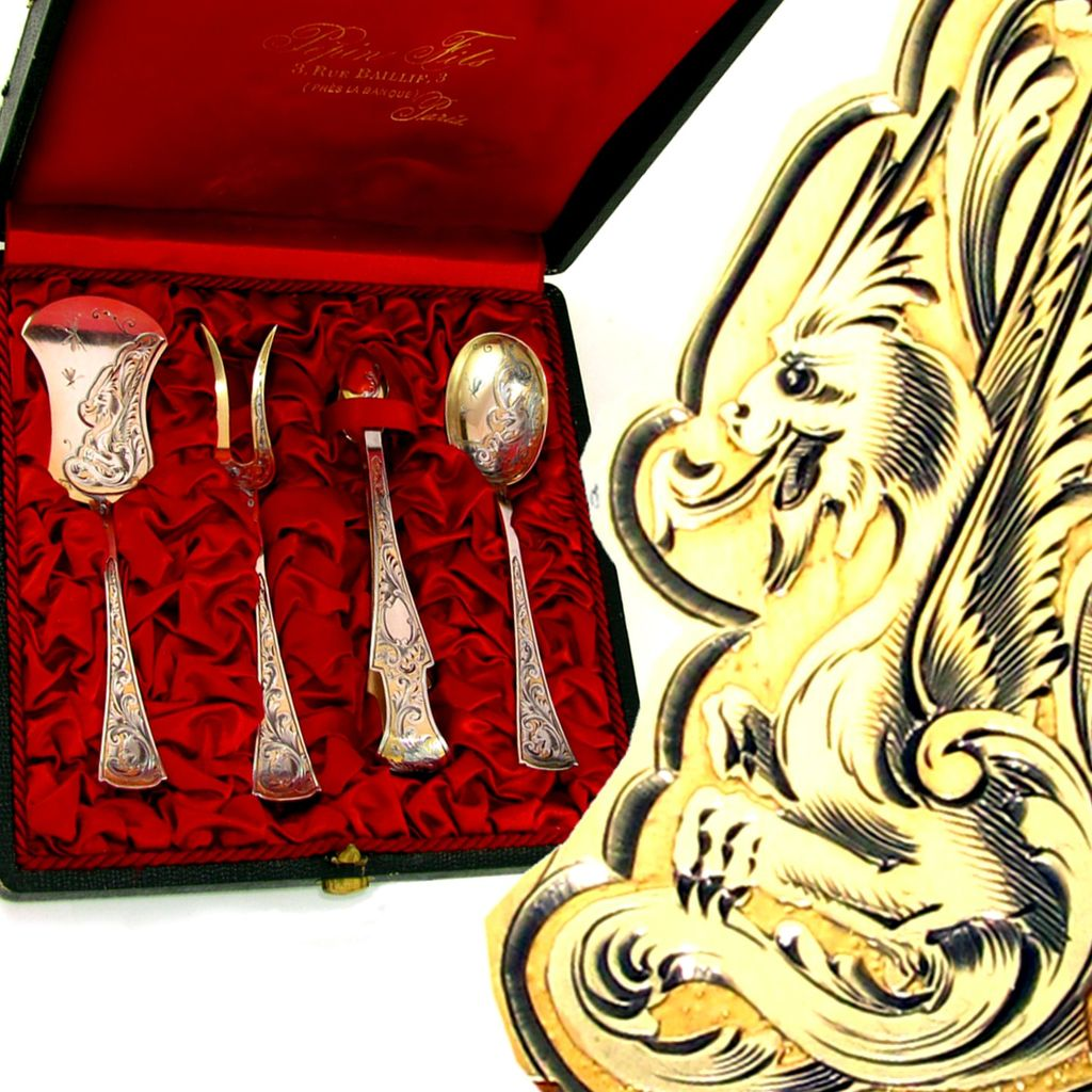 BOIVIN 4pc Antique French Sterling Silver Gilt Vermeil Hors d'Oeuvre Serving Set