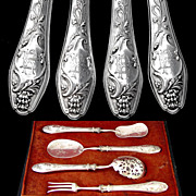 Art Nouveau French Sterling Silver 4pc Hors d'Oeuvre Service, Figural Handles with Satyr Masks