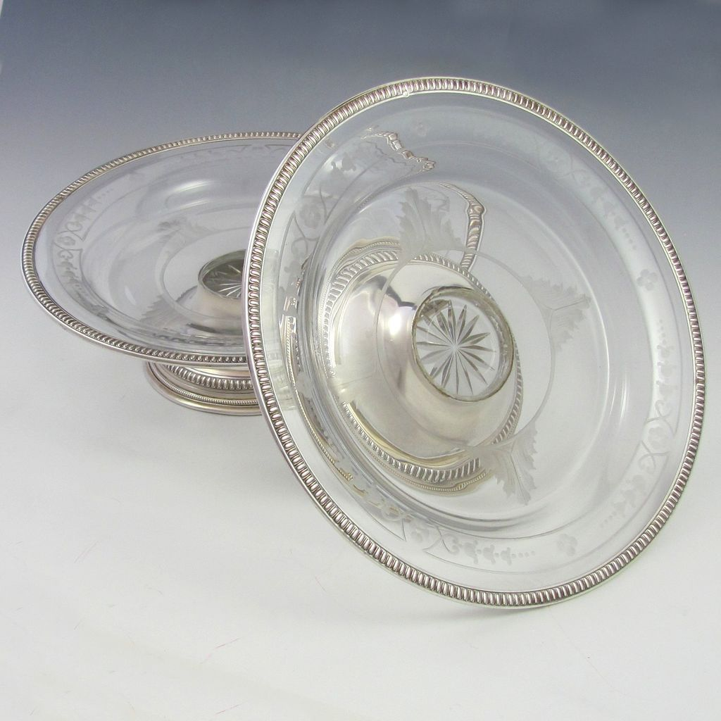 Pair Antique French Sterling Silver & Engraved Glass Compotes, Tazza Centerpieces