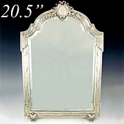 Large Antique 19c French Sterling Silver Beveled Glass Table Top Dresser / Vanity Mirror
