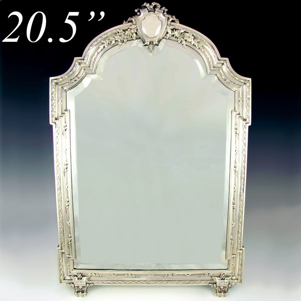 Large antique c french sterling silver beveled glass