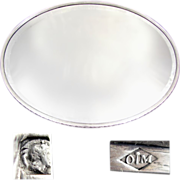 Large Antique French 950 Sterling Silver Oval Mirror Plateau