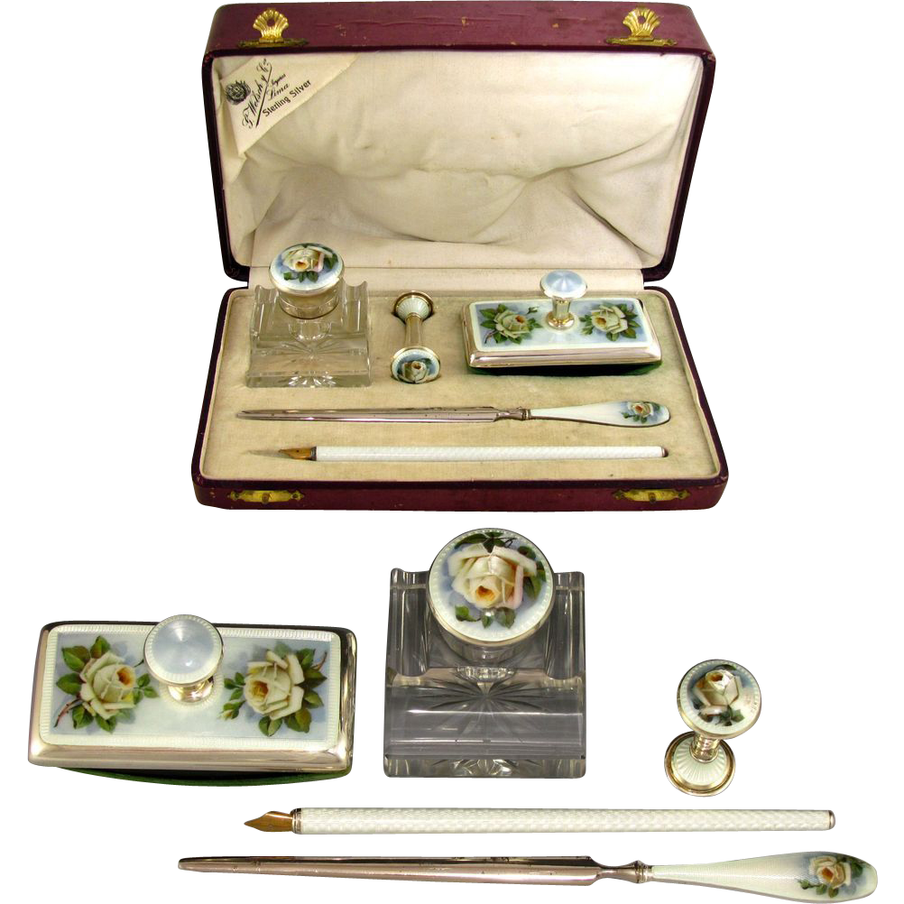 Antique Sterling Silver 935 Guilloche Enamel 5pc Writing Desk Set : Cut Crystal Inkwell, Wax Seal, Blotter, Dip Pen & Letter Opener