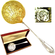 Boxed Antique French Sterling Silver Gilt Vermeil Strawberry Serving Spoon, Figural Coquille Shell Bowl