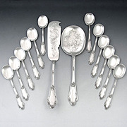 14pc Antique French Sterling Silver Ice Cream Serving Set, Spoons, by Silversmith Linzeler