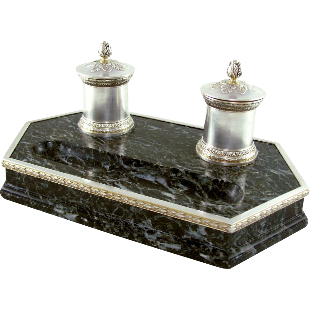 Antique French Sterling Silver 950/1000 & Marble Double Inkwell, Inkstand