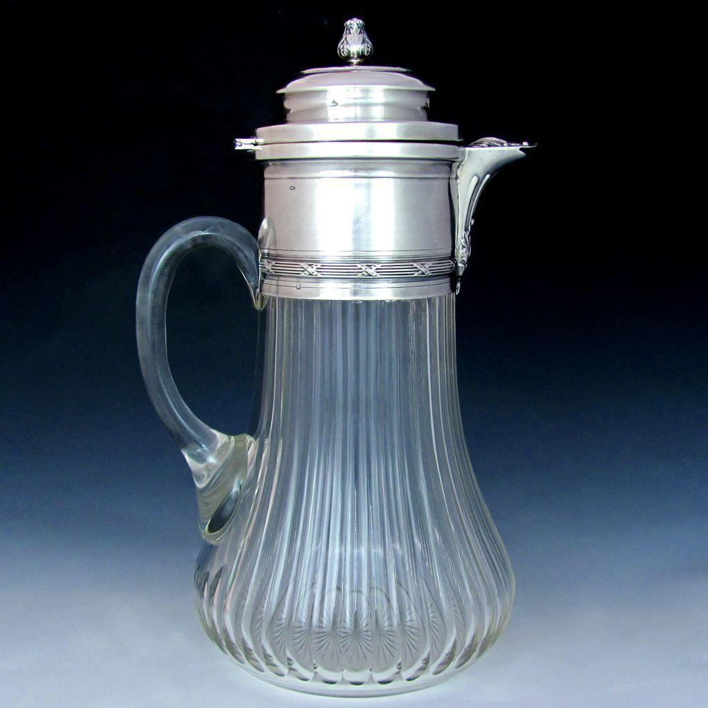 Antique French Sterling Silver  Cut Crystal Claret Jug Pitcher