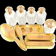 10pc Antique French Sterling Silver Gilt Vermeil Vanity Dresser Set