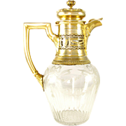 Antique French Sterling Silver Gilt Vermeil & Floral Engraved Cut Crystal Claret Jug Decanter