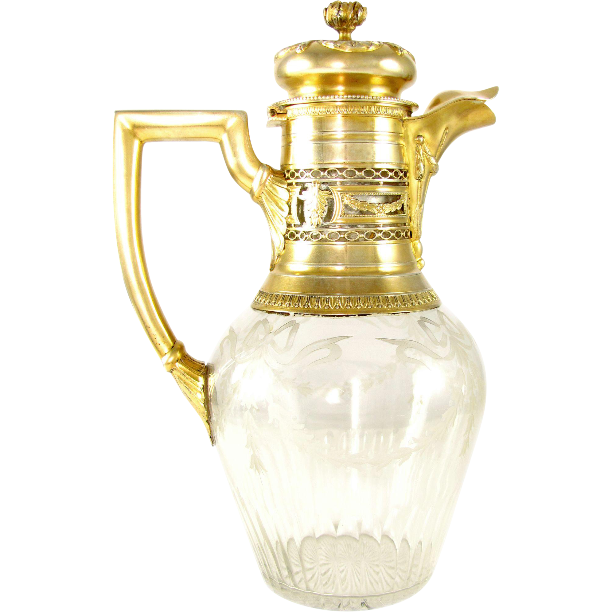 Antique French Sterling Silver Gilt Vermeil & Floral Engraved Cut Crystal Claret Jug Decanter