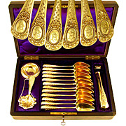 15pc Antique French .800 Silver Gilt Vermeil Tea / Coffee Set in Rare Burl Wood Inlaid Box - Spoons, Sugar Tongs, Tea Strainer