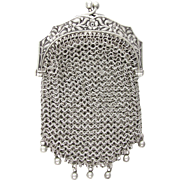 Antique French .800 Silver Chain Mail Mesh Chatelaine Purse, Embossed Art Nouveau Flowers