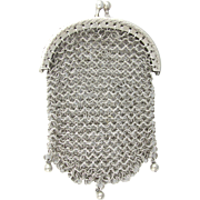 Antique French .800 Silver Chain Mail Mesh Chatelaine Purse