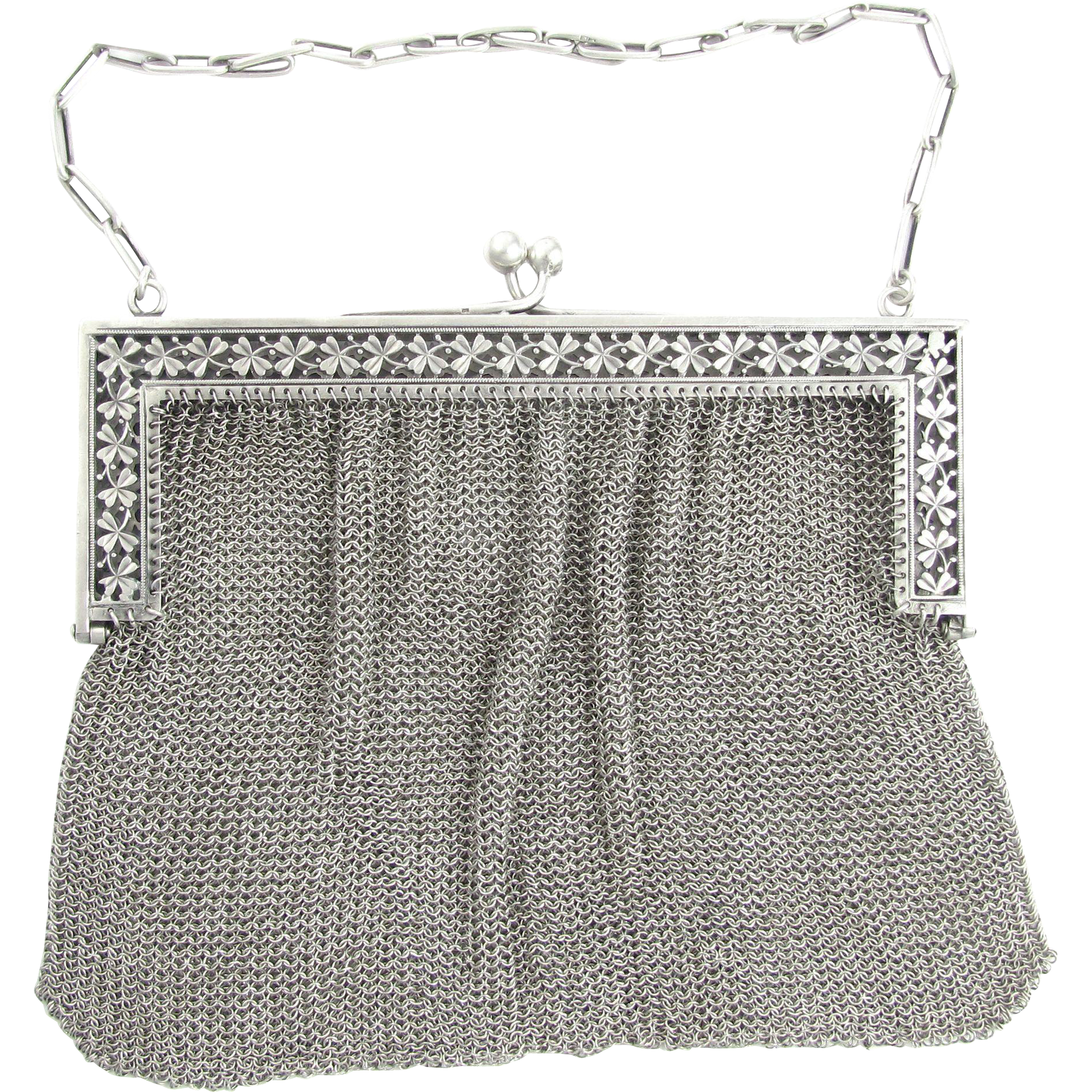 Large Antique French .800 Silver Chain Mail / Mesh Lady's Purse Evening Bag, Clover Motif