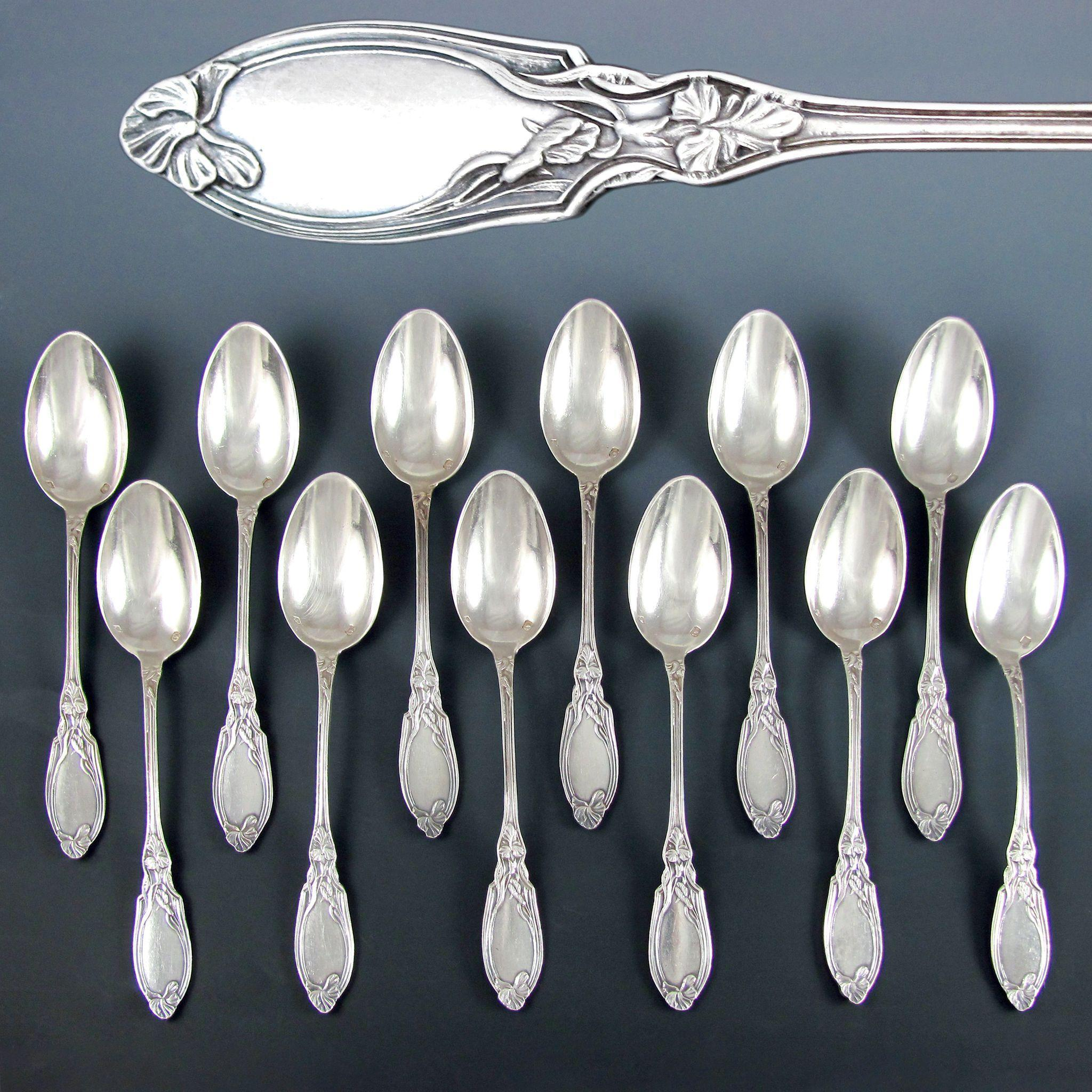 12 French Sterling Silver Art Nouveau Iris Pattern Tea / Coffee Spoons