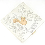 Art Deco French Silver & 18K Gold Powder Compact Mirror, Engraved Squirrel with Ruby Eye