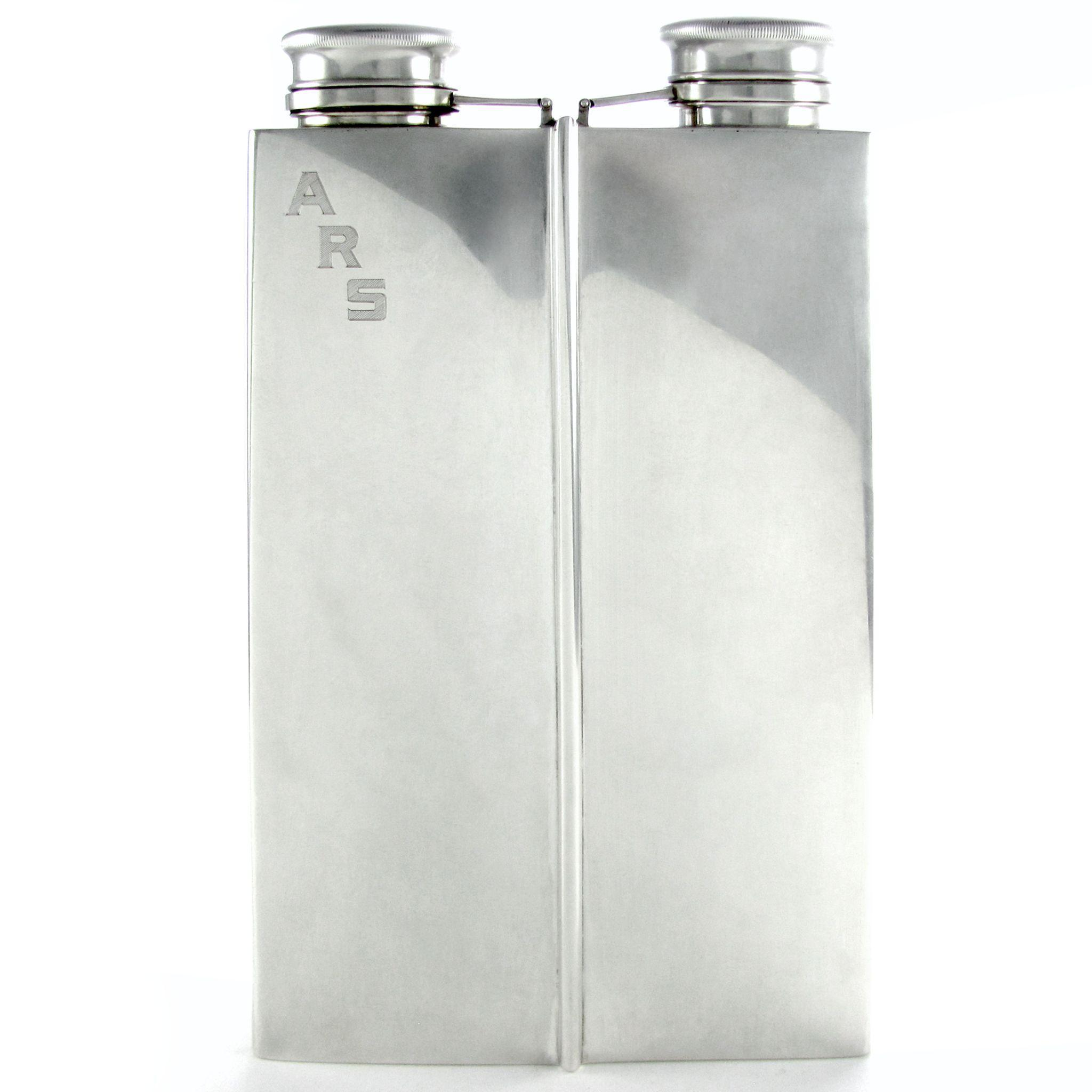 RARE Large Art Deco Sterling Silver 2 Pint Double Chamber Whiskey Spirits Hip Flask