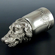 Rare French Sterling Silver 950/1000 Hallmarked Stirrup Cup, Figural Hound Dog Head, Equestrian Fox Hunting