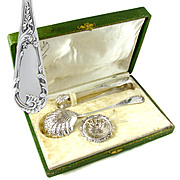 3pc Antique French Sterling Silver Tea, Coffee & Dessert Serving Set, Sugar Tongs, Sugar Sifter Spoon & Tea Strainer