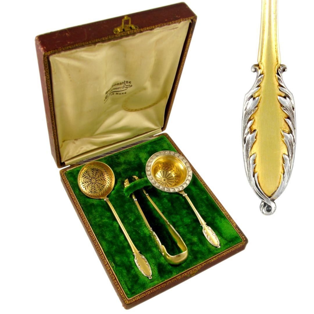 3pc Antique French Sterling Silver Gilt Vermeil Two Tone Coffee, Tea, Dessert Serving Set by Debain