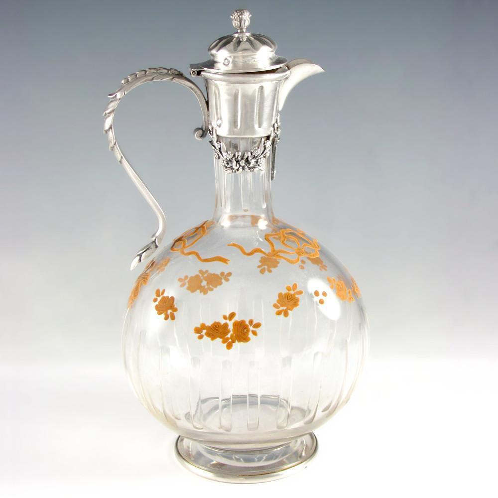 Antique French Sterling Silver Cut Crystal Glass Decanter, Carafe, Raised Enamel Flowers