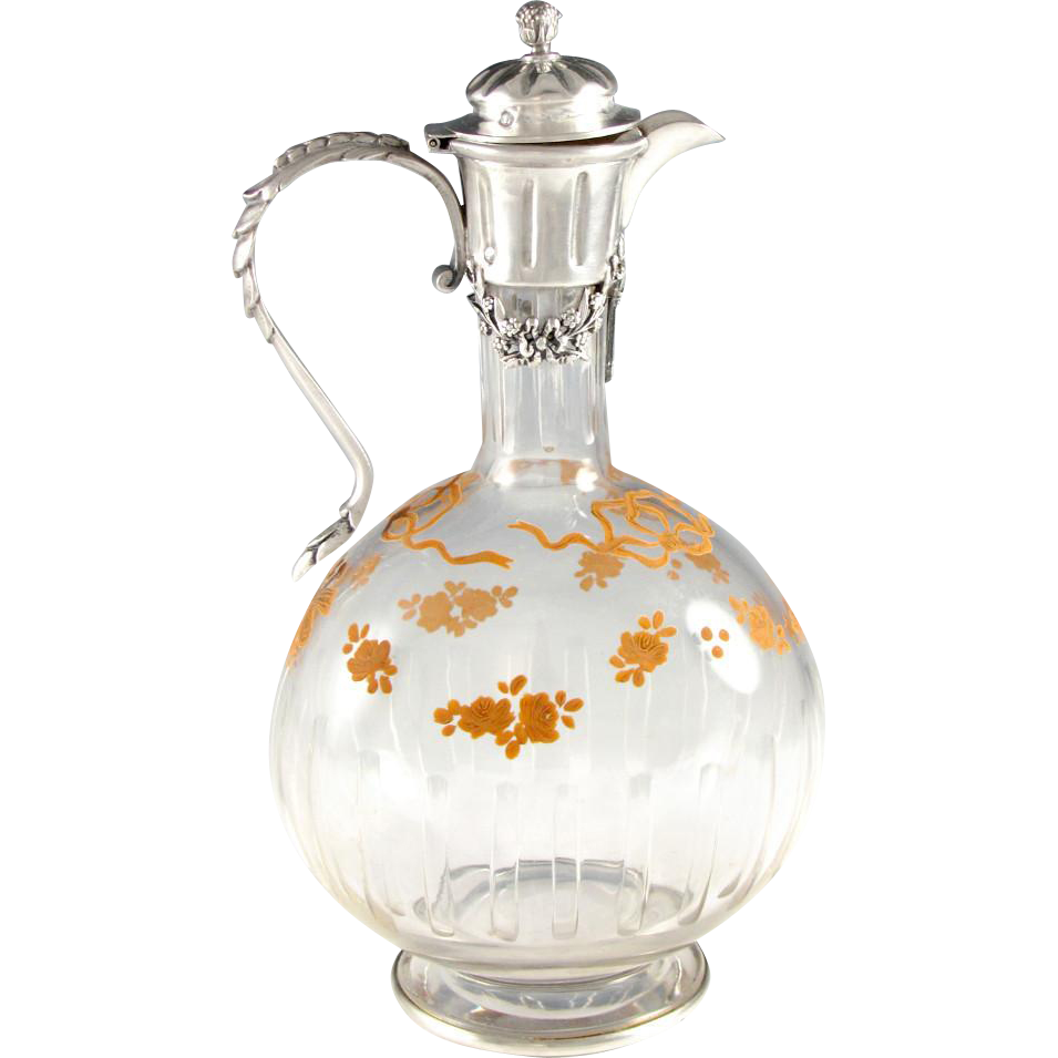 antique french sterling silver cut crystal glass decanter carafe from theantiqueboutique on. Black Bedroom Furniture Sets. Home Design Ideas