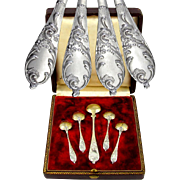 Ornate Antique French Sterling Silver Gilt Vermeil Rococo Style 5pc Condiment Set, Salt Spoons & Mustard Spoon in Box